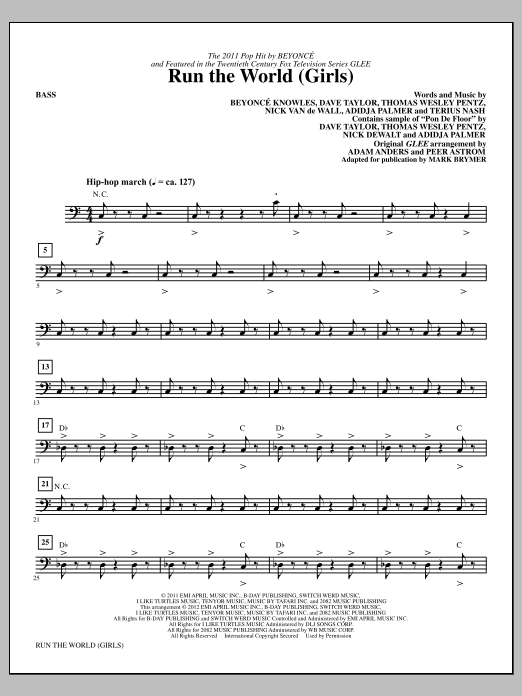 Download Mark Brymer 'Run the World (Girls) - Bass' Digital Sheet Music Notes & Chords and start playing in minutes