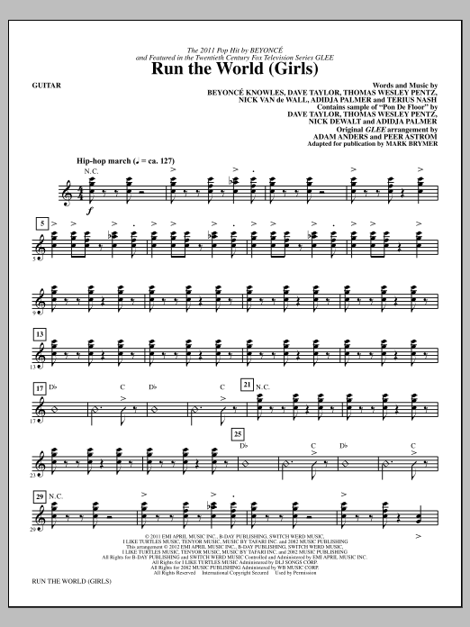 Download Mark Brymer 'Run the World (Girls) - Guitar' Digital Sheet Music Notes & Chords and start playing in minutes