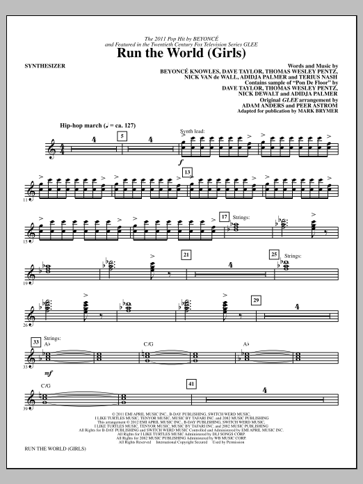 Download Mark Brymer 'Run the World (Girls) - Synthesizer' Digital Sheet Music Notes & Chords and start playing in minutes
