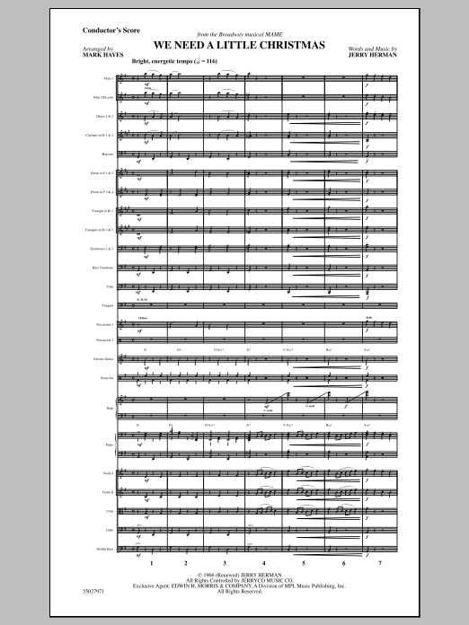 Mark Hayes We Need a Little Christmas - Full Score sheet music notes and chords