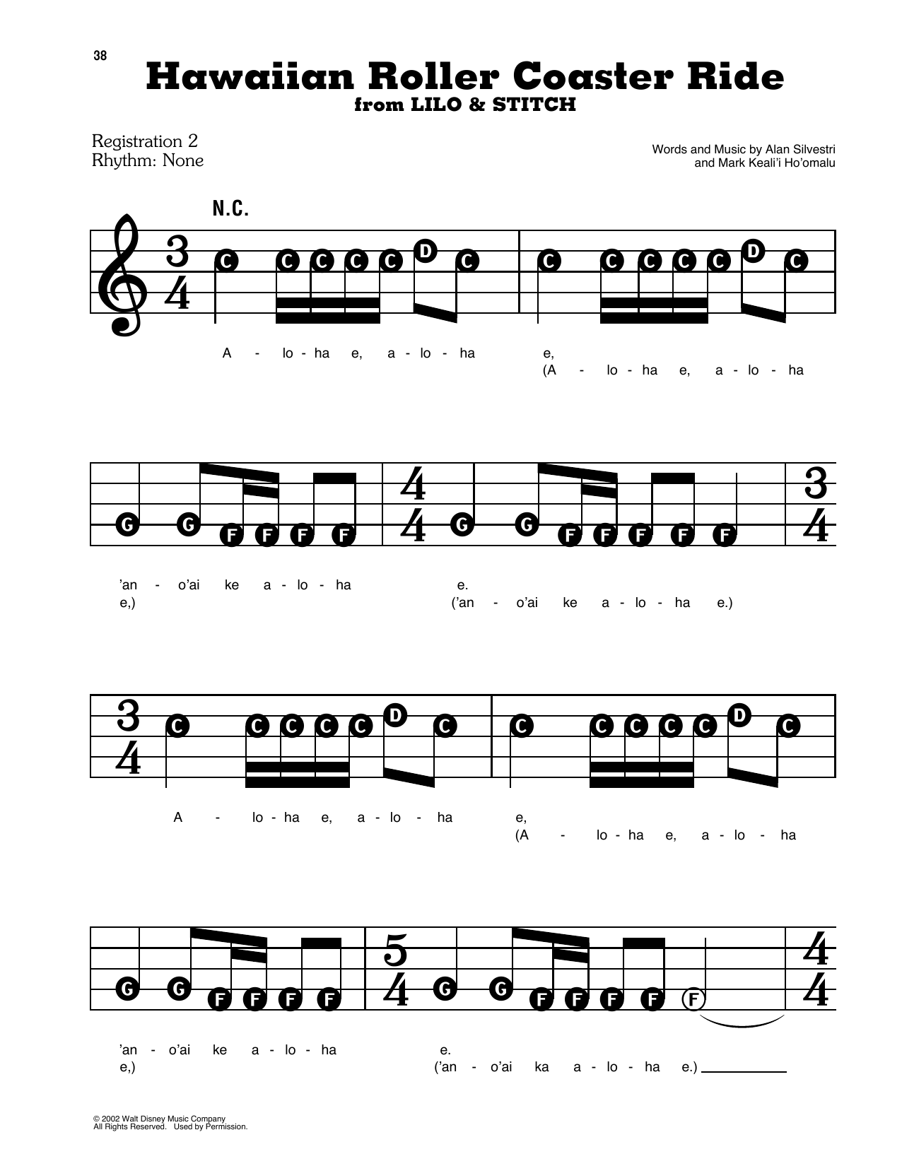Mark Keali'i Ho'omalu Hawaiian Roller Coaster Ride (from Lilo & Stitch) sheet music preview music notes and score for E-Z Play Today including 5 page(s)