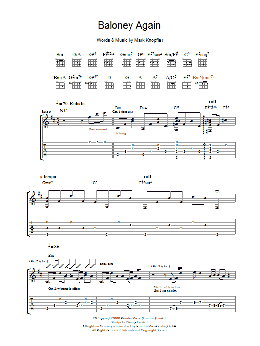 Mark Knopfler Baloney Again sheet music preview music notes and score for Guitar Tab including 13 page(s)