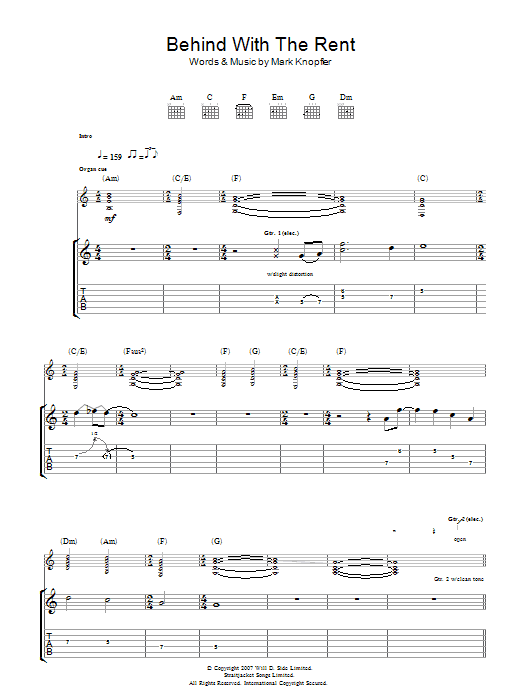 Mark Knopfler Behind With The Rent sheet music preview music notes and score for Guitar Tab including 8 page(s)