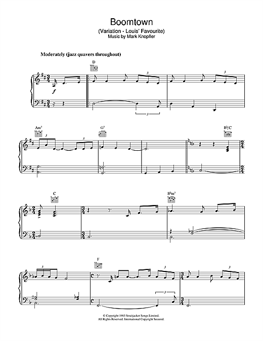 Download Mark Knopfler 'Boomtown (Variation - Louis' Favourite) (from Local Hero)' Digital Sheet Music Notes & Chords and start playing in minutes