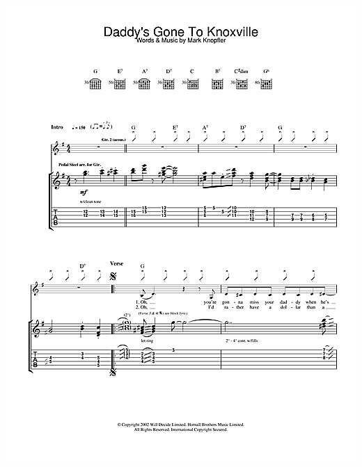Mark Knopfler Daddy's Gone To Knoxville sheet music notes and chords