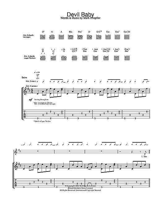 Mark Knopfler Devil Baby sheet music notes and chords