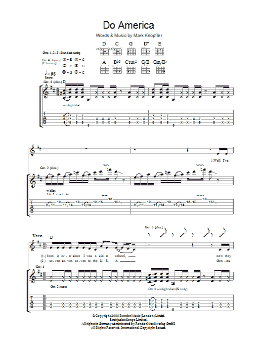 Mark Knopfler Do America sheet music preview music notes and score for Guitar Tab including 14 page(s)