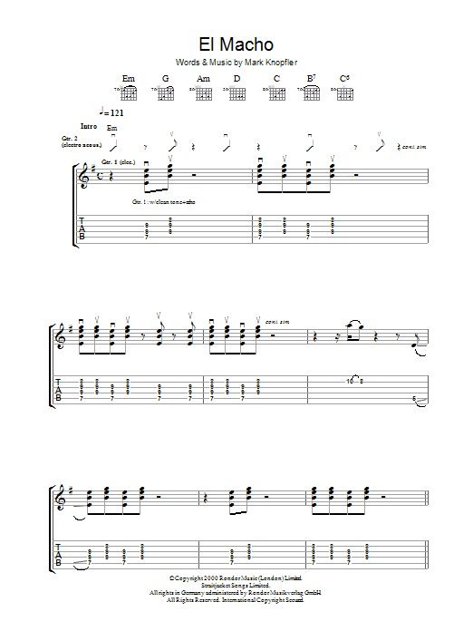 Mark Knopfler El Macho sheet music preview music notes and score for Guitar Tab including 9 page(s)