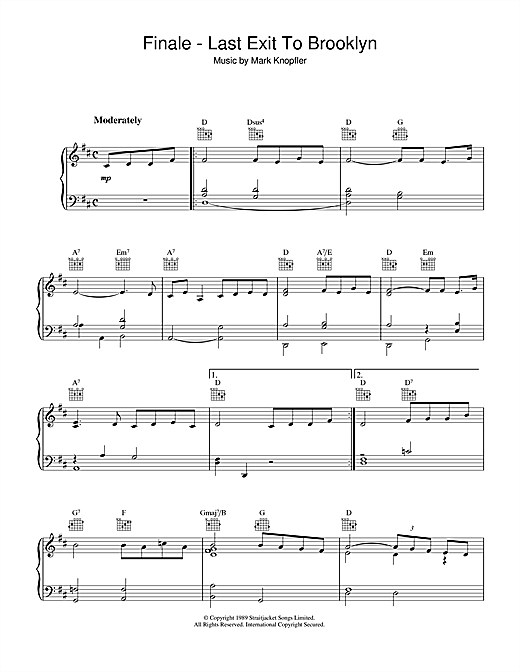 Download Mark Knopfler 'Finale - Last Exit To Brooklyn' Digital Sheet Music Notes & Chords and start playing in minutes