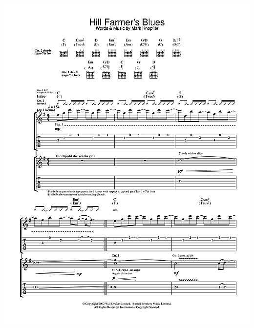 Mark Knopfler Hill Farmer's Blues sheet music notes and chords