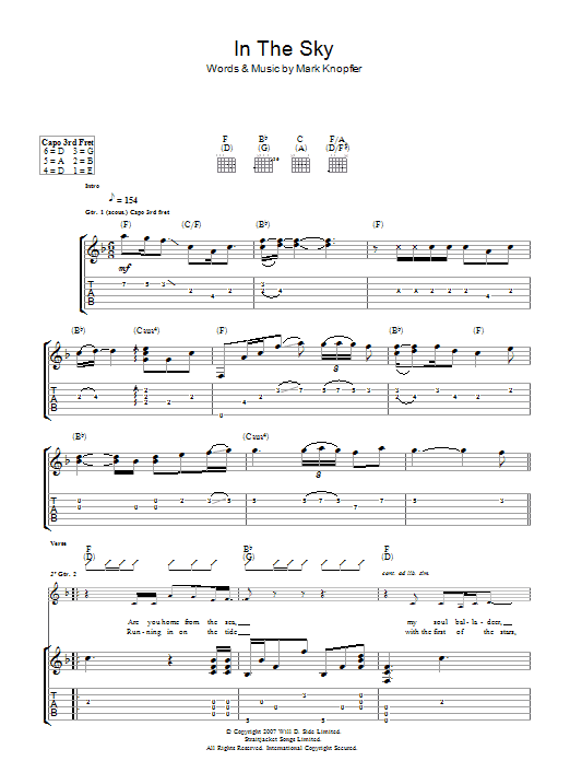 Mark Knopfler In The Sky sheet music preview music notes and score for Guitar Tab including 7 page(s)