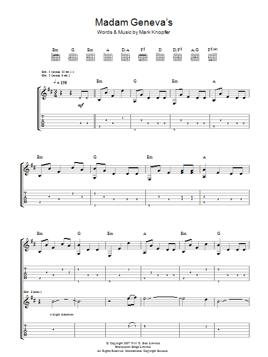 Mark Knopfler Madame Geneva's sheet music preview music notes and score for Guitar Tab including 9 page(s)