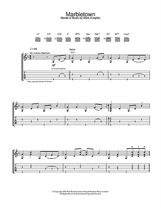 Mark Knopfler Marbletown sheet music notes and chords