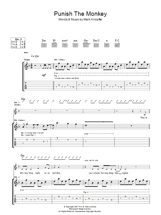 Mark Knopfler Punish The Monkey sheet music preview music notes and score for Guitar Tab including 11 page(s)