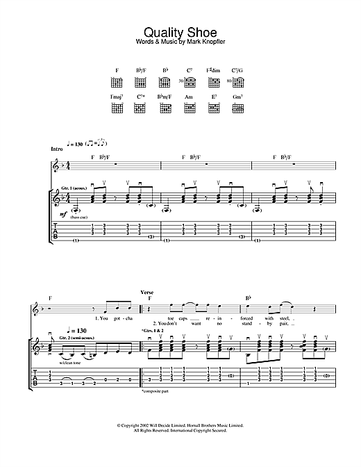 Mark Knopfler Quality Shoe sheet music notes and chords