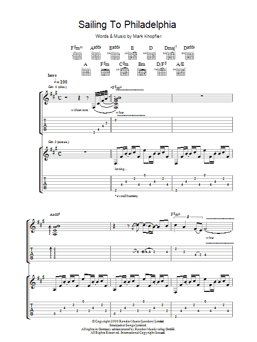 Mark Knopfler Sailing To Philadelphia sheet music preview music notes and score for Guitar Tab including 11 page(s)