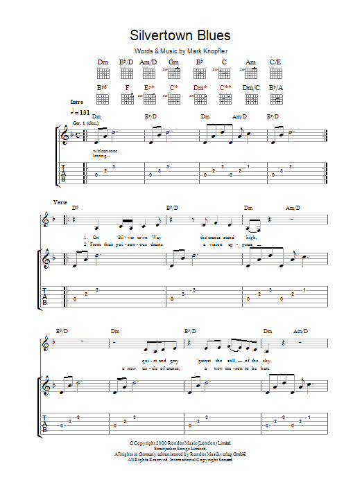 Mark Knopfler Silvertown Blues sheet music preview music notes and score for Guitar Tab including 15 page(s)