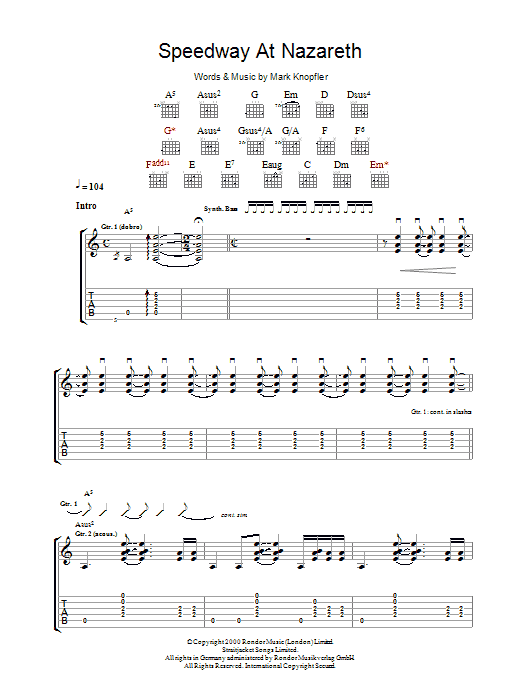 Mark Knopfler Speedway At Nazareth sheet music preview music notes and score for Guitar Tab including 10 page(s)