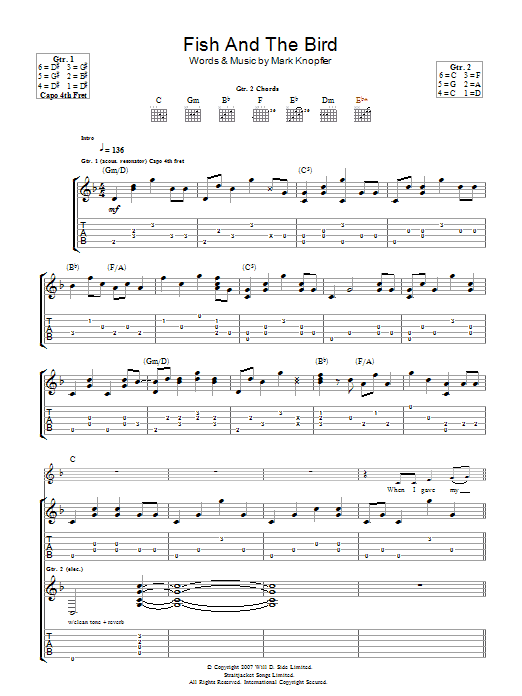 Mark Knopfler The Fish And The Bird sheet music preview music notes and score for Guitar Tab including 7 page(s)