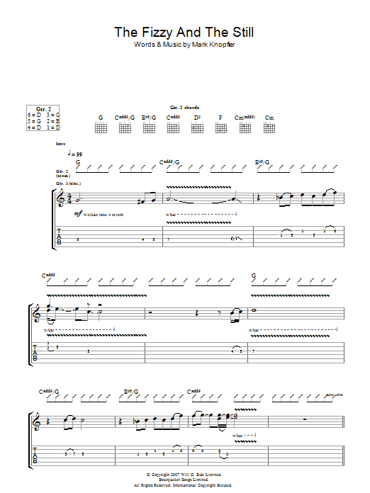 Mark Knopfler The Fizzy And The Still sheet music preview music notes and score for Guitar Tab including 5 page(s)