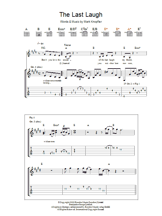 Mark Knopfler The Last Laugh sheet music preview music notes and score for Guitar Tab including 7 page(s)