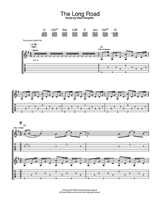 Mark Knopfler The Long Road (from Cal) sheet music notes and chords