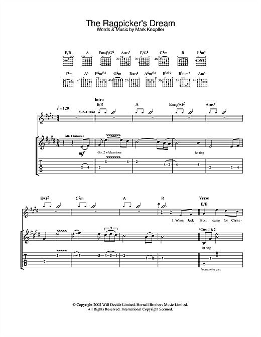 Mark Knopfler The Ragpicker's Dream sheet music notes and chords