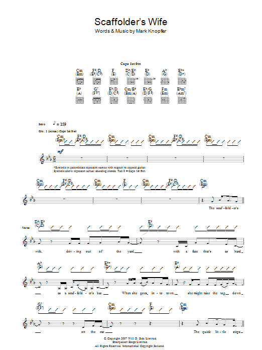 Mark Knopfler The Scaffolder's Wife sheet music preview music notes and score for Guitar Tab including 6 page(s)