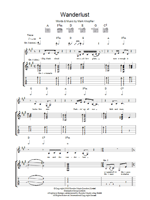 Mark Knopfler The Wanderlust sheet music preview music notes and score for Guitar Tab including 5 page(s)