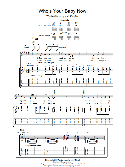 Mark Knopfler Who's Your Baby Now sheet music preview music notes and score for Guitar Tab including 7 page(s)