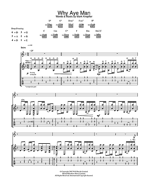 Mark Knopfler Why Aye Man sheet music notes and chords