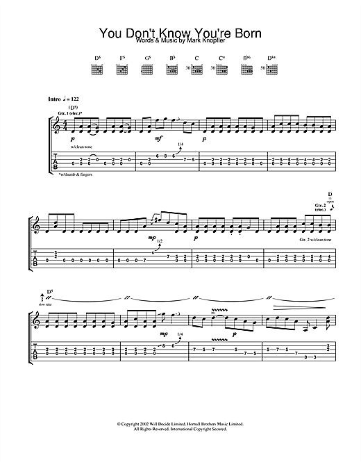 Mark Knopfler You Don't Know You're Born sheet music notes and chords