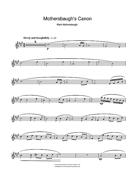 Download Mark Mothersbaugh 'Mothersbaugh's Canon (from The Royal Tenenbaums)' Digital Sheet Music Notes & Chords and start playing in minutes