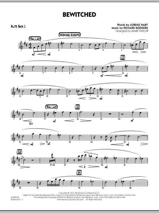 Mark Taylor Bewitched - Alto Sax 1 sheet music preview music notes and score for Jazz Ensemble including 2 page(s)