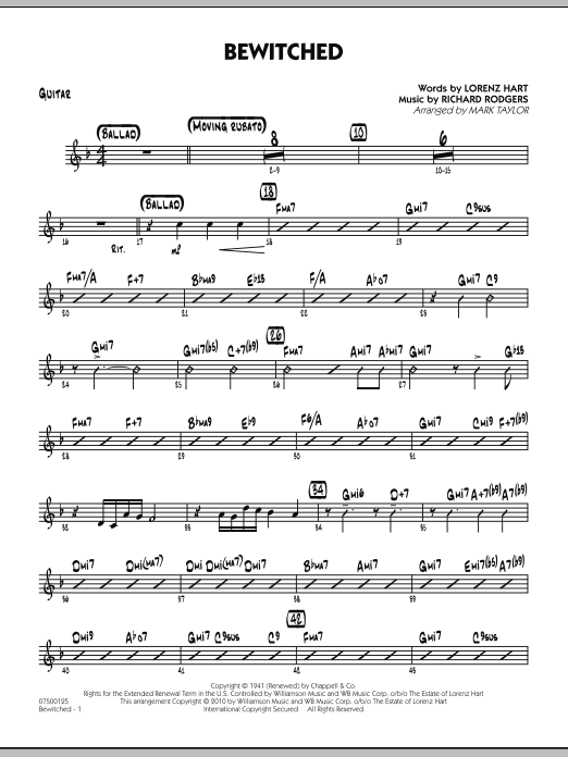 Mark Taylor Bewitched - Guitar sheet music preview music notes and score for Jazz Ensemble including 2 page(s)