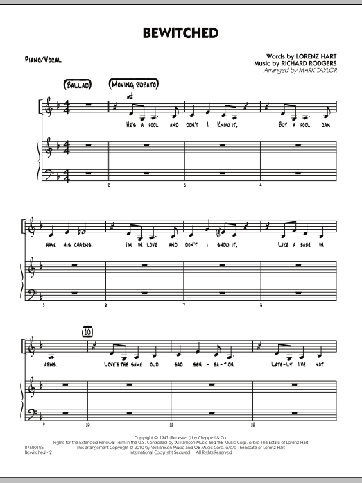 Mark Taylor Bewitched - Piano/Vocal sheet music preview music notes and score for Jazz Ensemble including 6 page(s)
