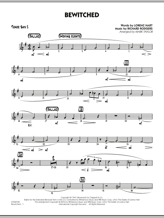 Mark Taylor Bewitched - Tenor Sax 2 sheet music preview music notes and score for Jazz Ensemble including 2 page(s)