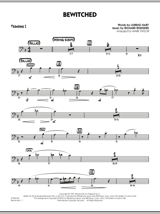 Mark Taylor Bewitched - Trombone 2 sheet music preview music notes and score for Jazz Ensemble including 2 page(s)