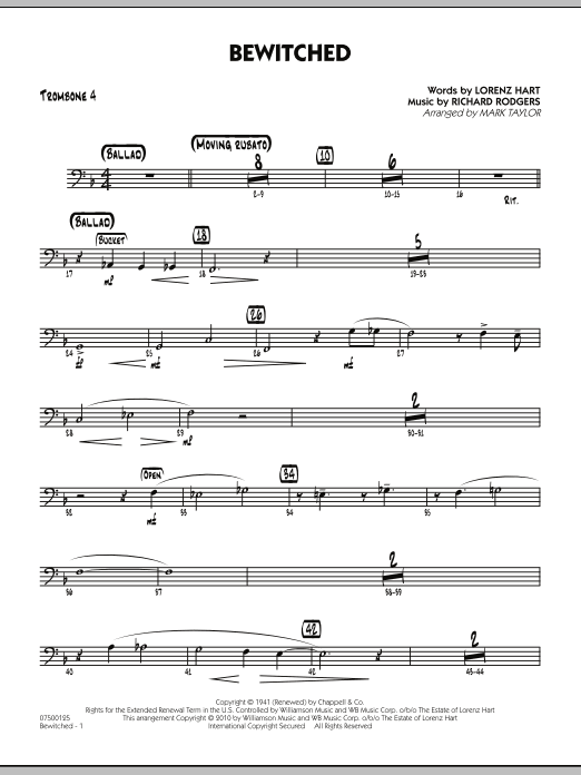 Mark Taylor Bewitched - Trombone 4 sheet music preview music notes and score for Jazz Ensemble including 2 page(s)