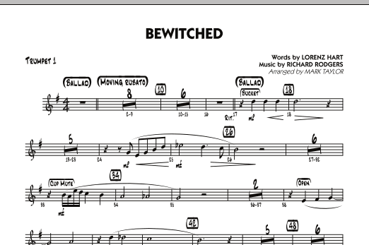 Mark Taylor Bewitched - Trumpet 1 sheet music preview music notes and score for Jazz Ensemble including 1 page(s)