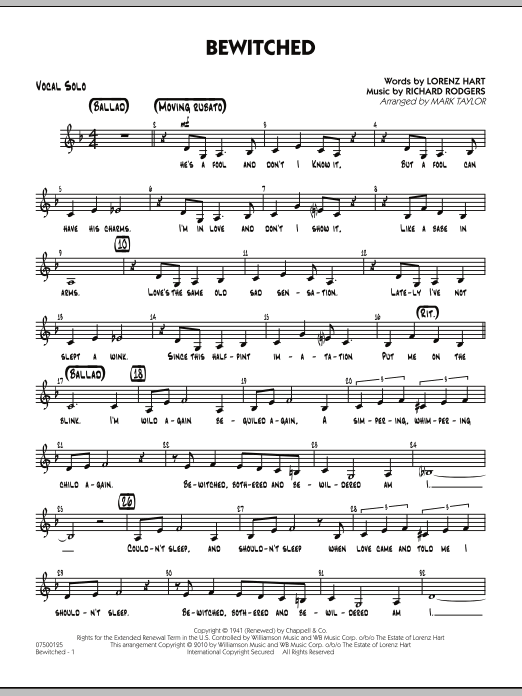 Mark Taylor Bewitched - Vocal Solo sheet music preview music notes and score for Jazz Ensemble including 2 page(s)