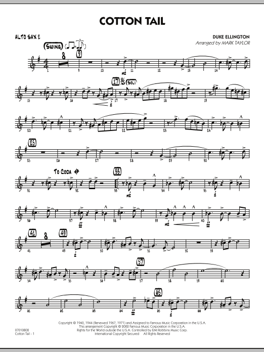 Mark Taylor Cotton Tail - Alto Sax 2 sheet music preview music notes and score for Jazz Ensemble including 2 page(s)