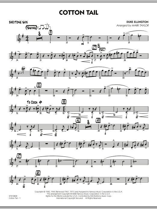 Mark Taylor Cotton Tail - Baritone Sax sheet music preview music notes and score for Jazz Ensemble including 2 page(s)