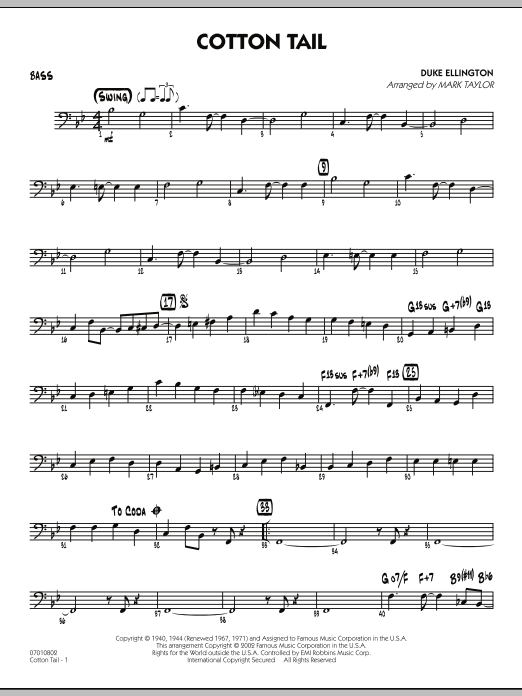 Mark Taylor Cotton Tail - Bass sheet music preview music notes and score for Jazz Ensemble including 3 page(s)