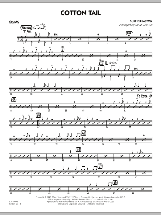 Mark Taylor Cotton Tail - Drums sheet music preview music notes and score for Jazz Ensemble including 2 page(s)