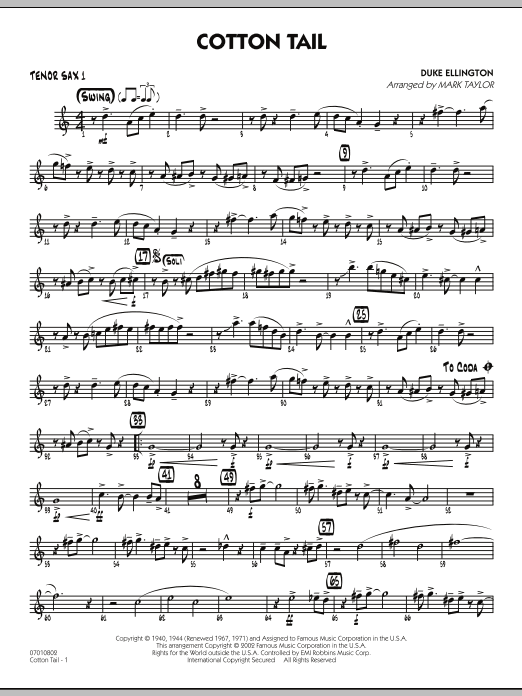 Mark Taylor Cotton Tail - Tenor Sax 1 sheet music preview music notes and score for Jazz Ensemble including 2 page(s)