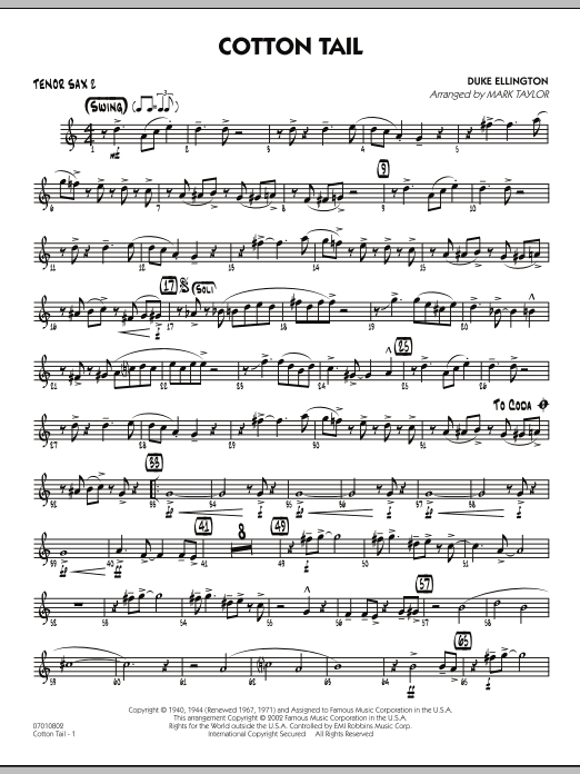 Mark Taylor Cotton Tail - Tenor Sax 2 sheet music preview music notes and score for Jazz Ensemble including 2 page(s)