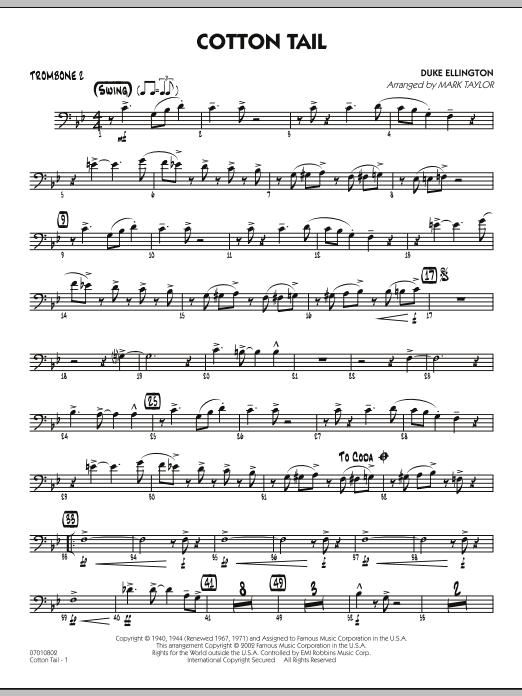 Mark Taylor Cotton Tail - Trombone 2 sheet music preview music notes and score for Jazz Ensemble including 2 page(s)