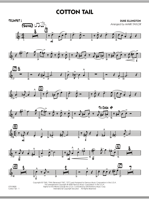 Mark Taylor Cotton Tail - Trumpet 1 sheet music preview music notes and score for Jazz Ensemble including 2 page(s)