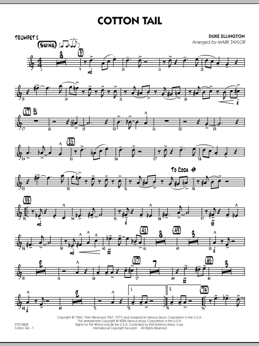 Mark Taylor Cotton Tail - Trumpet 2 sheet music preview music notes and score for Jazz Ensemble including 2 page(s)